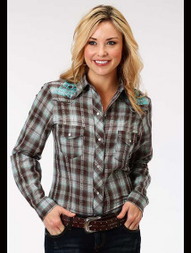 Women Embroidered Western Show Shirt ~ CHOCOLATE & TURQUOISE PLAID