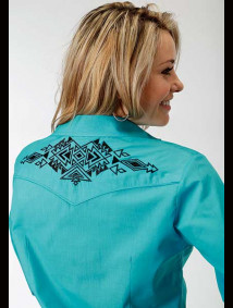 Women Embroidered Western Show Shirt ~ Aztec Turquoise