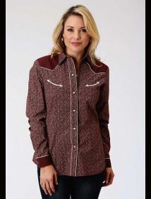 Women Western Shirt ~ WINE FLORAL DITZY