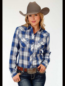 Women Western Shirt ~ COBALT,GREY, & WHITE PLAID