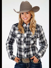 Women Western Shirt ~ BLACK,GREY, & WHITE PLAID