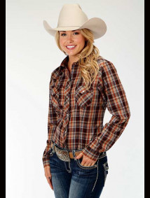 Women Western Shirt ~ CHOCOLATE RUST PLAID