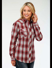 Women Western Shirt ~ RED,GREY & BLACK PLAID