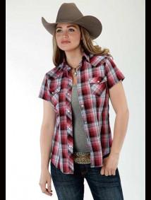 Womens Short-Sleeve Western Shirt ~ Cranberry