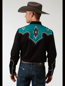 Embroidered Old West Shirt ~ TWO TONE BLACK AND TURQ