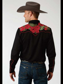 Embroidered Old West Shirt ~ HAWAIIAN FLORAL