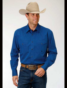 Big & Tall Western Shirt ~ Solid Blue