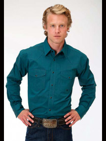 Big & Tall Western Shirt ~ Solid Teal