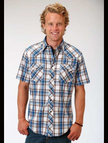 Short-Sleeve Western Shirt ~ Woodland Plaid