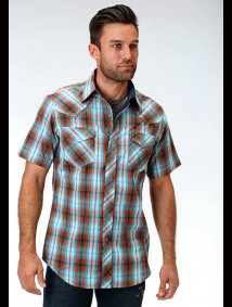 Short-Sleeve Western Shirt ~ Copper Check