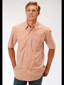 Short-Sleeve Western Shirt ~ Mini Checks Orange