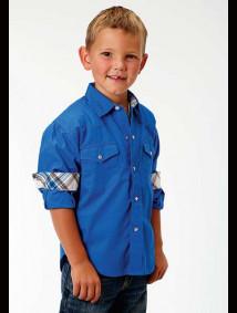 Boys Western Shirt - Solid Royal