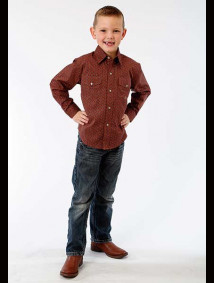 Boys Western Shirt - Spiced Rum