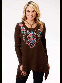 Embroidered Thermal Knit Top