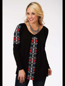 Black Embroidered Western Peasant Top