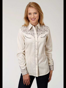 Women Embroidered Western Show Shirt ~ Modern Leaf