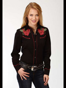 Women Embroidered Western Show Shirt ~ HAWAIIAN FLORAL