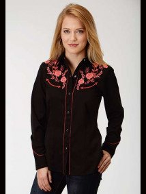 Women Embroidered Western Show Shirt ~ DELICATE FLORAL