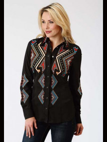 Women Embroidered Western Show Shirt ~ Aztec