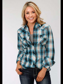 Women Western Shirt ~ OLD GLORY PLAID
