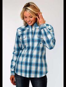 Women Western Plaid Shirt ~ Blue Jay Ombre