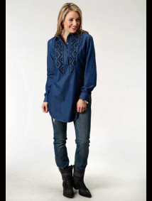 Women Stetson Embroidered Western Denim Tunic ~ Indigo