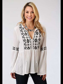 Geometric Embroidered RAYON CREPE PEASANT BLOUSE