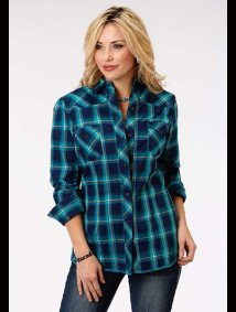 Womens Plus Size Plaid Cowgirl Shirt - SEA OMBRE