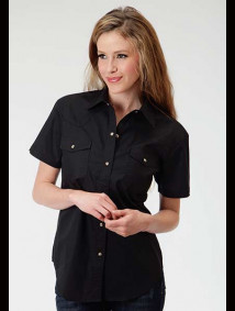 Womens Short-Sleeve Black Cowgirl Shirt