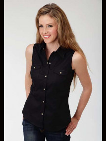 Womens Sleeveless Black Cowgirl Shirt