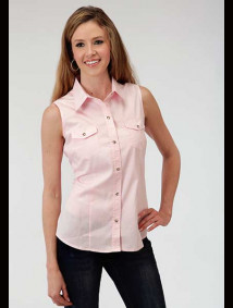 Womens Sleeveless Pink Cowgirl Shirt
