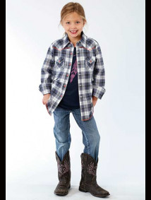 Girls Western Shirt - Blue Grey Plaid