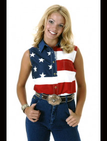 "Womens Sleeveless Western Shirt - ""Patriot"""