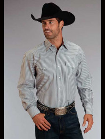 Stetson Western Shirt ~ Grey Stripe