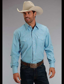 Stetson Western Shirt ~ Turquoise Stripe
