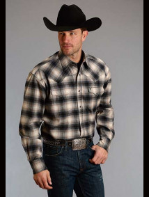 Stetson Brush Twill Western Shirt ~ CHARCOAL OMBRE