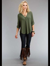 Stetson - Olive CREPE PEASANT TOP