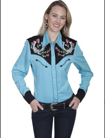 "Womens Embroidered Western Shirt - ""Lucky Rose"""