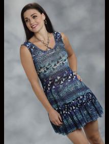 Roper® Blue Leopard & Floral Stretch Mesh Western Dress