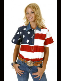 "Womens Short Sleeve Western Shirt - ""Patriot"""