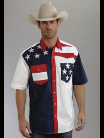 Mens Short Sleeve Western Shirt - Patriot IV