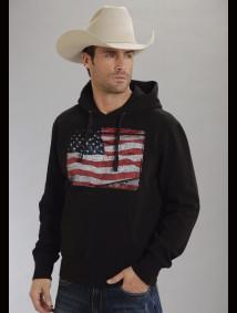 Roper® Mens Black American Flag Screen Printed Hooded Sweatshirt