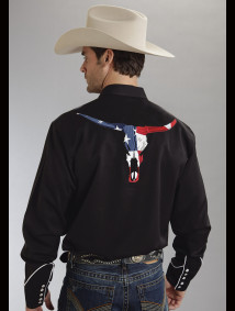 Roper Mens Black Skull Flag Embroidered Long Sleeve Snap Western Shirt