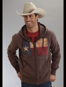 Roper® Mens Brown Texas Flag Screen Printed Hooded Sweatshirt