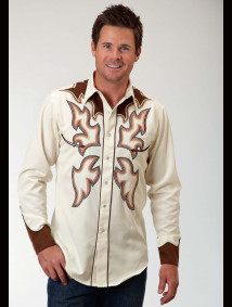 Mens Embroidered Cowboy Shirt - Flameout