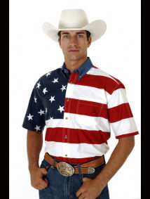 Roper® Mens Red American Flag Short Sleeve Western Shirt