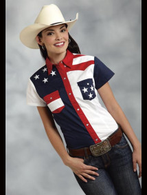 "Womens Short Sleeve Western Shirt - ""Patriot IV"""