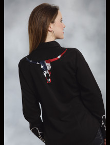 "Womens Embroidered Western Shirt - ""American Longhorn"""