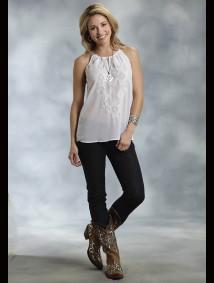 Roper® Women's White Georgette Embroidered Western Halter Tank
