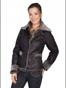 Scully® Ladies Charcoal Faux Fur & Faux Leather Western Jacket